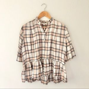 Loft Plaid Peach Peplum Blouse